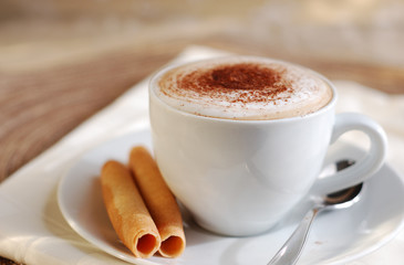 Hot creamy cappuccino drink.