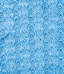 background of the blue knitted fabric. texture