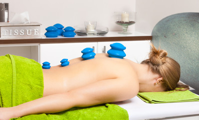 Beauty salon. Woman getting spa cupping glass vacuum massage