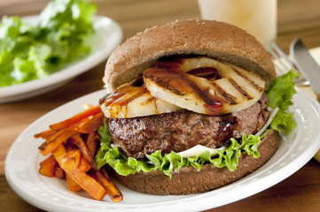 pineapple burger with teriyaki sauce