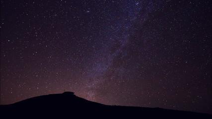 Stars, Beautiful Night Sky Above Mountain Top, Time Lapse
