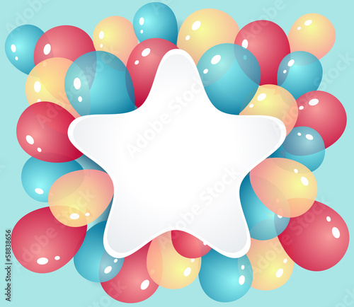 Star frame with balloons