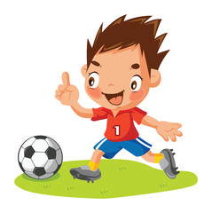Cartoon Soccer player with ball