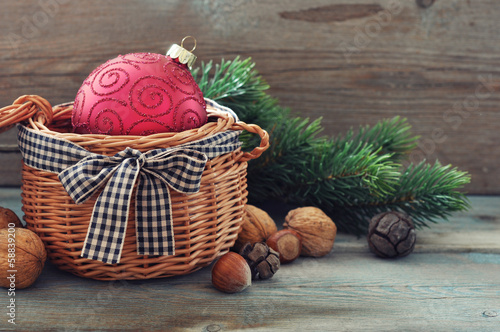 Christmas decoration in wicker basket