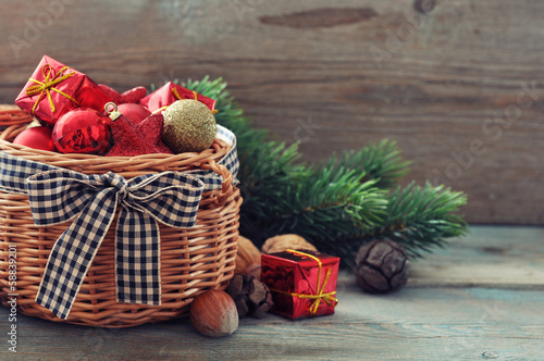 Christmas decorations in wicker basket
