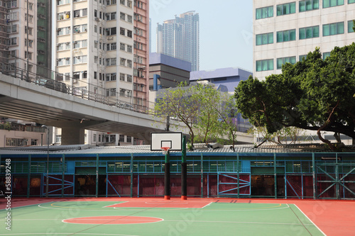 Basketball court in the city of Hong Kong, China