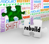 Rebuild Word Puzzle Piece Wall Reinvent New Start