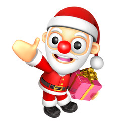 3D Santa mascot the hand is holding a Gift Box