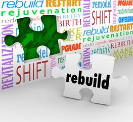 Rebuild Word Puzzle Piece Wall Reinvent New Start