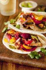 grilled chicken and vegetable fajitas.