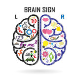 left and right brain symbol,creativity sign,business symbol,know