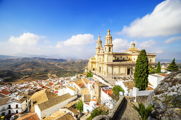 Elevated view of the town and Church, Olvera, Cadiz.
