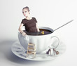 woman  in cup of coffee