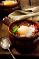 Huevos rancheros closeup.