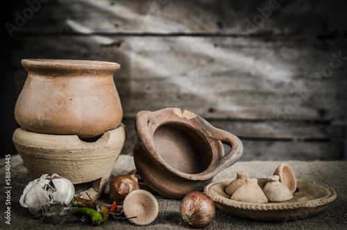 Still life pottery and wooden background