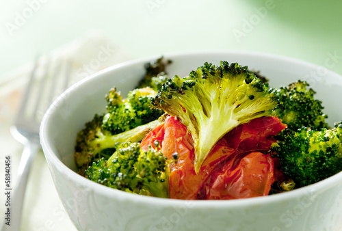 freshly roasted broccoli and tomatoes.