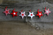 Merry Christmas Hanging Decoration Red and White Fabric Stars