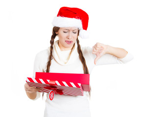 Christmas woman unhappy with the gift she received