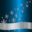Vector Blue Plate with Snowflakes and White Ribbon