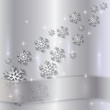 Vector Silver Plate with snowflakes and Ribbon