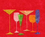 Stylized Drinks on a Red Background