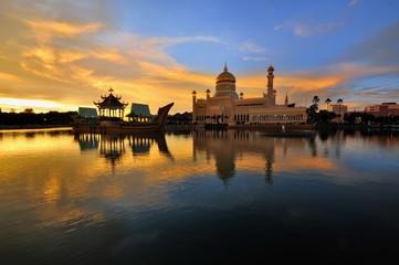 Sultan Omar Ali Saifuddien Mosque, Brunei during burning sunset