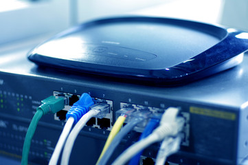 Router with cable wires, IT industry internet router with cable