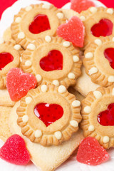 Assorted cookies and fruit jelly for Valentine's Day, vertical