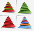 Paper Cut Christmas tree background, vector illustration