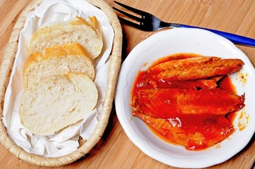 Mackerel fillets in tomato sauce tapas, Spain © Arena Photo UK