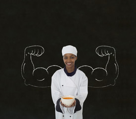 African American chef with chalk strong arms