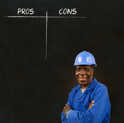 African American black man worker with chalk decision list