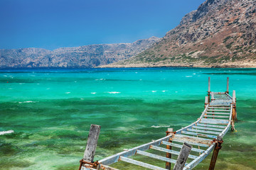 Old fishing bridge. Balos bay, Crete, Greece.