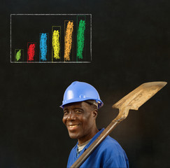 African man worker with chalk bar graph on blackboard background