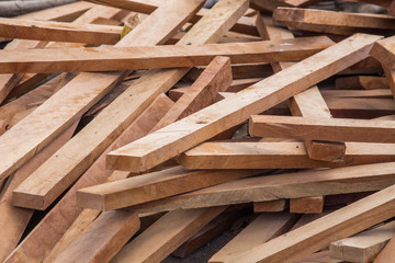 Stacked plywood in factory