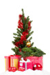 Christmas tree with presents isolated on white