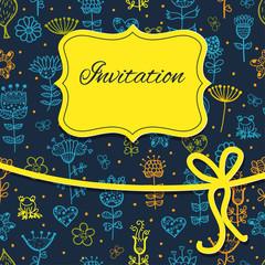 hand draw floral invitation card