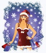 Christmas shopping Santa girl, vector illustration