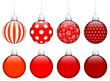 Collection Of 8 Christmas Balls Red