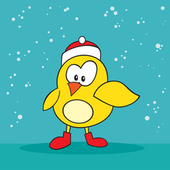 Christmas holiday silly little yellow bird