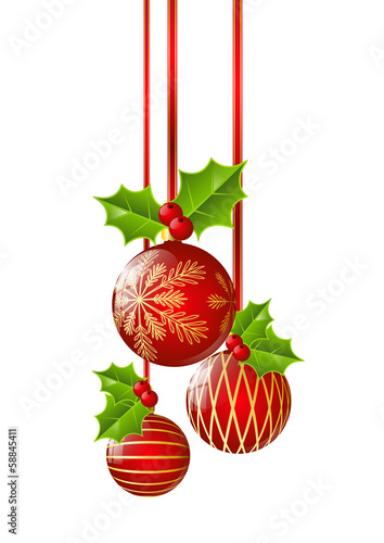 Christmas balls with holly leaves