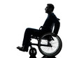 side view serious handicapped man in wheelchair silhouette