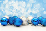 christmas balls in blue close-up