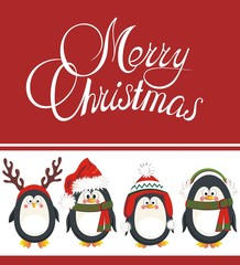 Christmas background with penguins