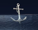 anchor in  blue water  aim, purpose concept