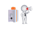3d person with megaphone and safe.