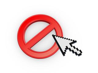 Cursor annd symbol of ban.