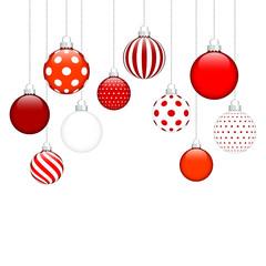 Hanging Christmas Balls Pattern Red