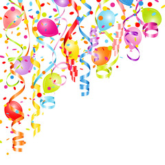 Streamers, Confetti & Balloons Color Party Background