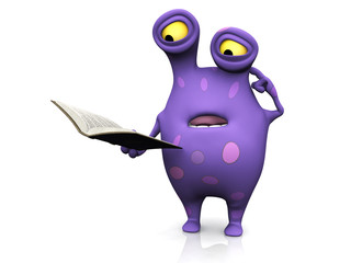 A spotted monster reading book and looking confused.